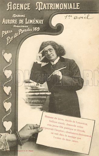 Agence Matrimoniale. Postcard, early 20th century.
