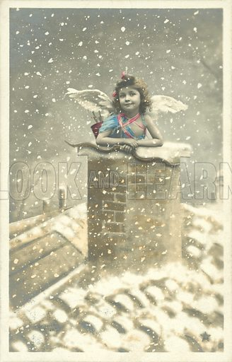 Girl angel emerging from chimney pot in the snow. Postcard, early 20th century.