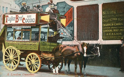 A London Omnibus. Postcard, early 20th century.