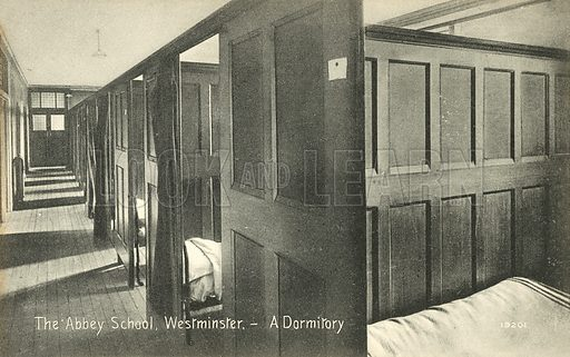 The Abbey School, Westminster, A Dormitory. Postcard, early 20th century.
