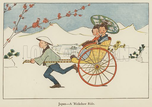 Japan, a 'rickshaw ride. Illustration for All the World Over by Edith Farmiloe (Grant Richard, 1898).