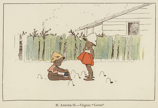 North America, Virginia Coons. Illustration for All the World Over by Edith Farmiloe (Grant Richard, 1898).