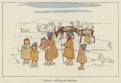 Lapland, milking the reindeer. Illustration for All the World Over by Edith Farmiloe (Grant Richard, 1898).
