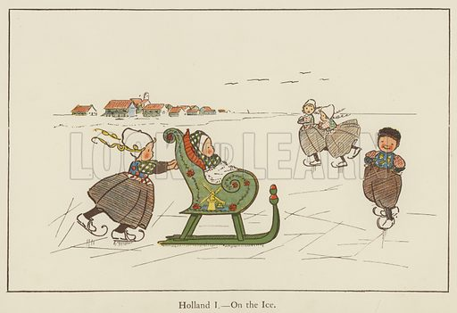 Holland, on the ice. Illustration for All the World Over by Edith Farmiloe (Grant Richard, 1898).