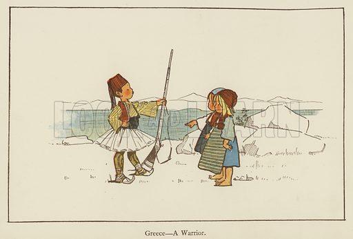 Greece, a warrior. Illustration for All the World Over by Edith Farmiloe (Grant Richard, 1898).