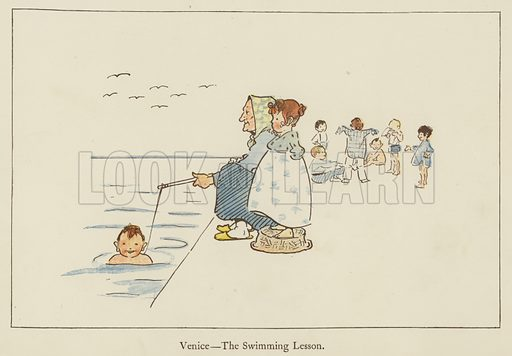 Venice, the swimming lesson. Illustration for All the World Over by Edith Farmiloe (Grant Richard, 1898).