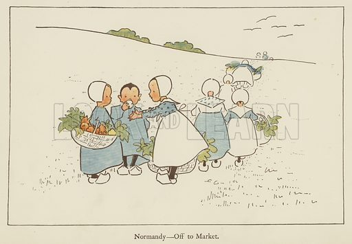 Normandy, off to market. Illustration for All the World Over by Edith Farmiloe (Grant Richard, 1898).