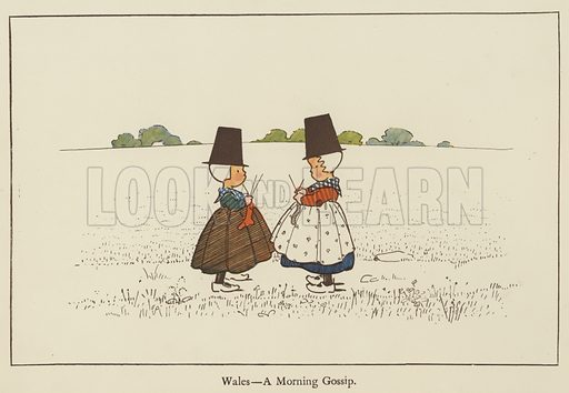 Wales, a morning gossip. Illustration for All the World Over by Edith Farmiloe (Grant Richard, 1898).