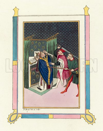 Murder of Thomas Becket. Illustration for The Regal and Ecclesiastical Antiquities of England by Joseph Strutt (Henry G Bohn, 1842). Illustrations based on original paintings.