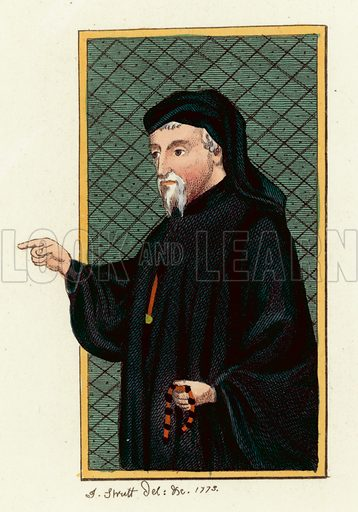 Geoffrey Chaucer. Illustration for The Regal and Ecclesiastical Antiquities of England by Joseph Strutt (Henry G Bohn, 1842). Illustrations based on original paintings.