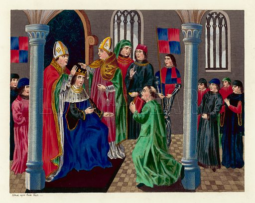 Coronation of King Henry IV. Illustration for The Regal and Ecclesiastical Antiquities of England by Joseph Strutt (Henry G Bohn, 1842). Illustrations based on original paintings.