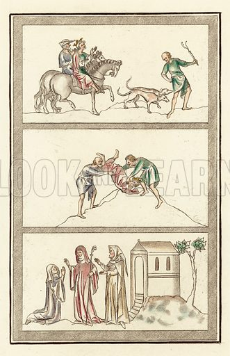 Cenelm, King of Mercia, hunting, murder of King, Abbess, nun and anchorite. Illustration for The Regal and Ecclesiastical Antiquities of England by Joseph Strutt (Henry G Bohn, 1842). Illustrations based on original paintings.