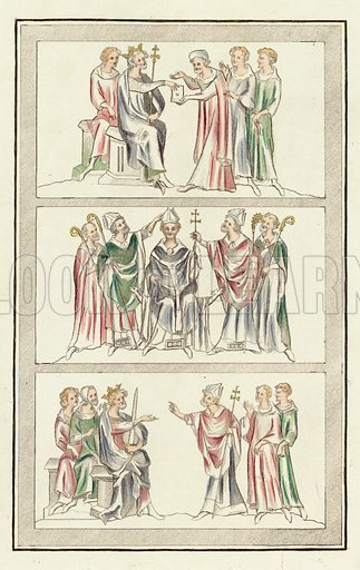 Life of Thomas Becket. Illustration for The Regal and Ecclesiastical Antiquities of England by Joseph Strutt (Henry G Bohn, 1842). Illustrations based on original paintings.