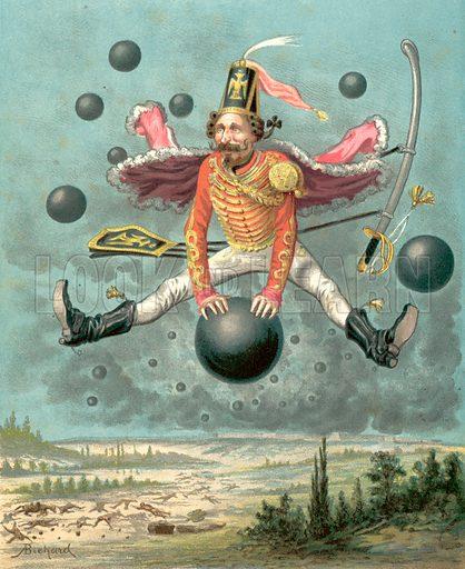 Adventures of Baron Munchhausen. Illustration for Aventures et Mesaventures de Baron De Munchhausen by J Levoisin (Hachette, 1879).