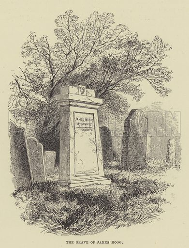 The grave of James Hogg. Illustration for A Book of Memories of Great Men and Women of the Age by SC Hall (Virtue, 2nd edn, 1877).