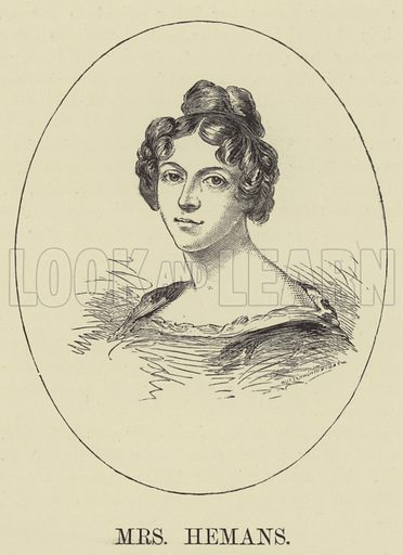Mrs Hemans. Illustration for A Book of Memories of Great Men and Women of the Age by SC Hall (Virtue, 2nd edn, 1877).