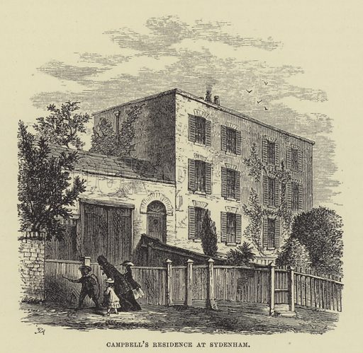 Campbell's residence at Sydenham. Illustration for A Book of Memories of Great Men and Women of the Age by SC Hall (Virtue, 2nd edn, 1877).