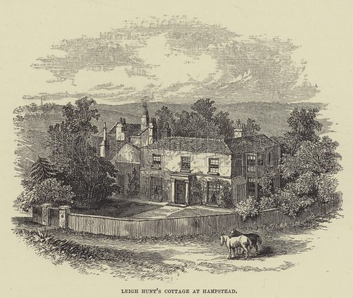 Leigh Hunt's cottage at Hampstead. Illustration for A Book of Memories of Great Men and Women of the Age by SC Hall (Virtue, 2nd edn, 1877).