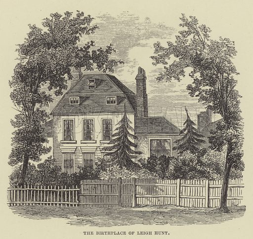The birthplace of Leigh Hunt. Illustration for A Book of Memories of Great Men and Women of the Age by S C Hall (Virtue, 2nd edn, 1877).