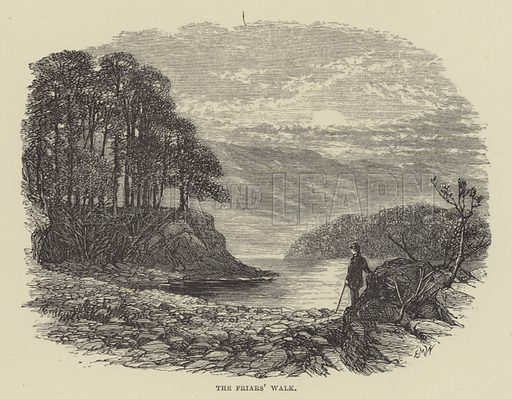 The Friars' Walk. Illustration for A Book of Memories of Great Men and Women of the Age by SC Hall (Virtue, 2nd edn, 1877).
