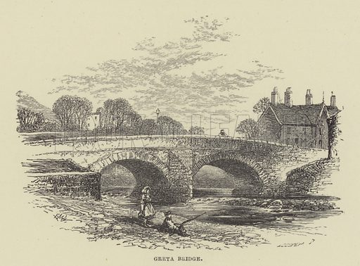Greta Bridge. Illustration for A Book of Memories of Great Men and Women of the Age by SC Hall (Virtue, 2nd edn, 1877).