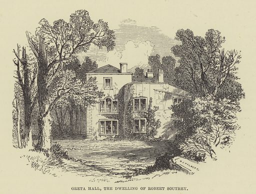 Greta Hall, the dwelling of Robert Southey. Illustration for A Book of Memories of Great Men and Women of the Age by SC Hall (Virtue, 2nd edn, 1877).