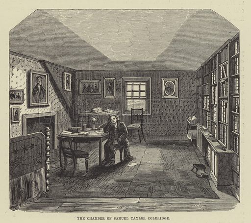 The chamber of Samuel Taylor Coleridge. Illustration for A Book of Memories of Great Men and Women of the Age by SC Hall (Virtue, 2nd edn, 1877).
