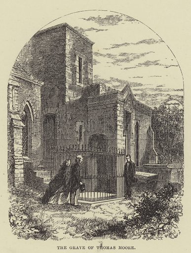 The grave of Thomas Moore. Illustration for A Book of Memories of Great Men and Women of the Age by SC Hall (Virtue, 2nd edn, 1877).