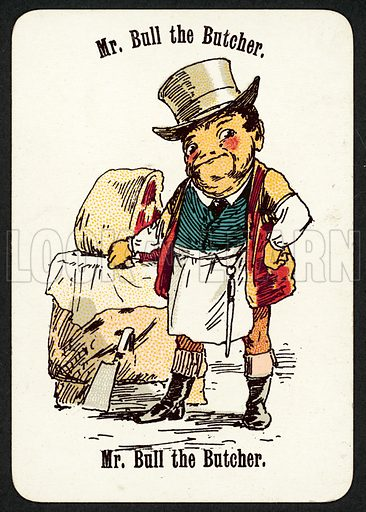 Mr Bull The Butcher. Illustration for card game called Cheery Families, published by Thomas De La Rue, late 19th century.