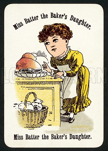 Miss Batter The Baker's Daughter. Illustration for card game called Cheery Families, published by Thomas De La Rue, late 19th century.