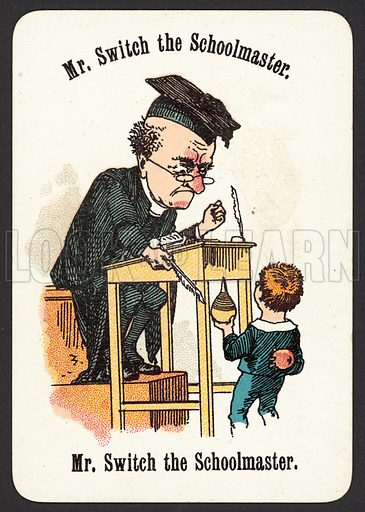 Mr Switch The Schoolmaster. Illustration for card game called Cheery Families, published by Thomas De La Rue, late 19th century.