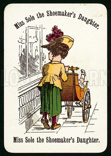 Miss Sole The Shoemaker's Daughter. Illustration for card game called Cheery Families, published by Thomas De La Rue, late 19th century.