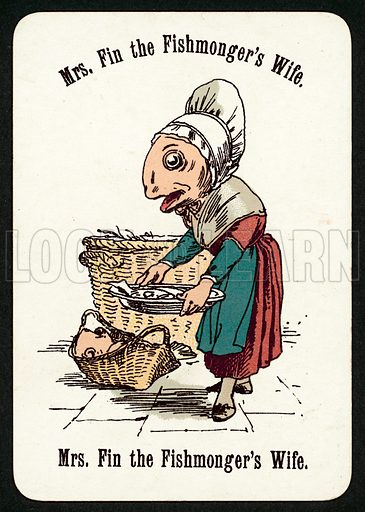 Mrs Fin The Fishmonger's Wife. Illustration for card game called Cheery Families, published by Thomas De La Rue, late 19th century.