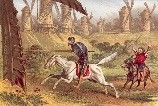 Setting his lance in the rest, he rushed on as fast as Rosinante could gallop, and attacked the first mill before him. Illustration for Adventures of Don Quixote De La Mancha from the Spanish of Miguel De Cervantes Saavedra (Gall & Inglis, c 1885).