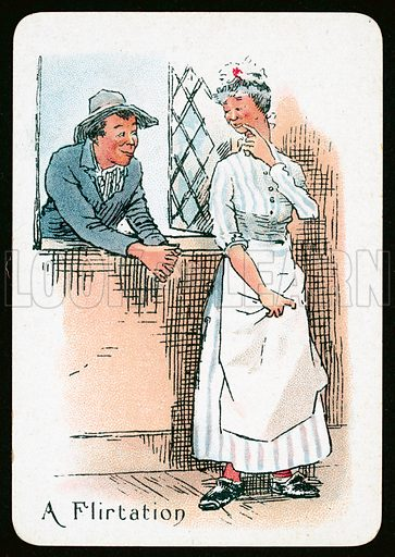 A Flirtation. Illustration for one of The Gipsy Fortune Telling Cards published by Thomas De La Rue, late 19th century.