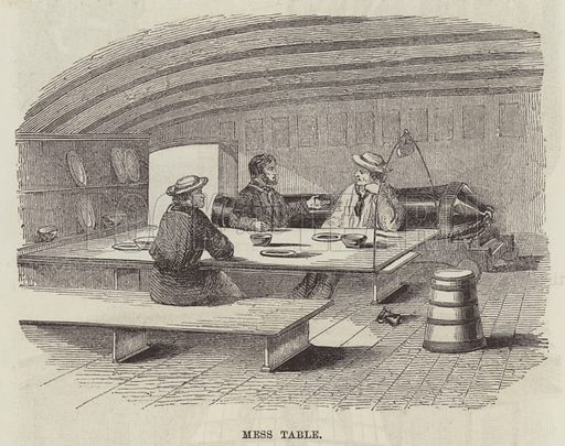 Mess table. Illustration for The History of Progress in Great Britain by Robert Kemp Philp (Houlston and Wright, 1859).