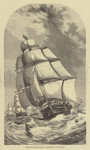 Merchant-Marine, making for port. Illustration for The History of Progress in Great Britain by Robert Kemp Philp (Houlston and Wright, 1859).