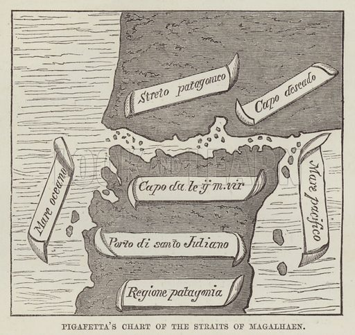 Pigafetta's chart of the Straits of Magalhaen. Illustration for The History of Progress in Great Britain by Robert Kemp Philp (Houlston and Wright, 1859).