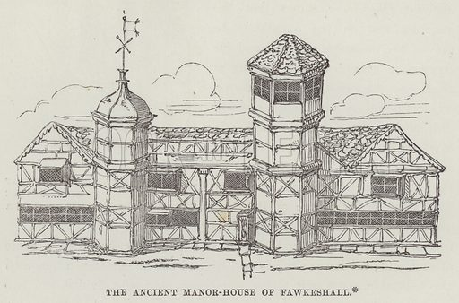 The ancient manor-house of Fawkeshall. Illustration for The History of Progress in Great Britain by Robert Kemp Philp (Houlston and Wright, 1859).