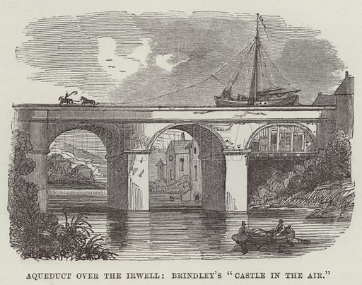 """Aqueduct over the Irwell, Brindley's """"castle in the air"""". Illustration for The History of Progress in Great Britain by Robert Kemp Philp (Houlston and Wright, 1859)."""