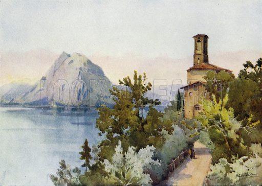 Monte San Salvatore, Lago di Lugano. Illustration for The Italian Lake Described by Richard Bagot (A&C Black, 1905).