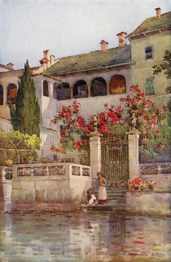 A Villa Garden, Lago d'Orta. Illustration for The Italian Lake Described by Richard Bagot (A&C Black, 1905).