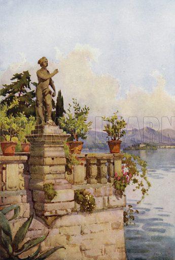 Terrace, Isola Bella, Lago Maggiore. Illustration for The Italian Lake Described by Richard Bagot (A&C Black, 1905).