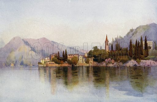Varenna, Lago di Como. Illustration for The Italian Lake Described by Richard Bagot (A&C Black, 1905).