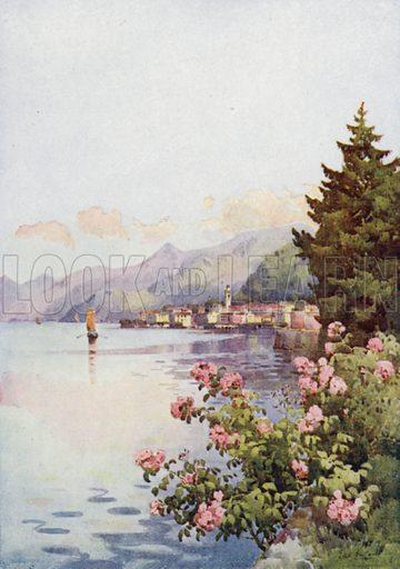 Bellagio from the Villa Melzi, Lago di Como. Illustration for The Italian Lake Described by Richard Bagot (A&C Black, 1905).