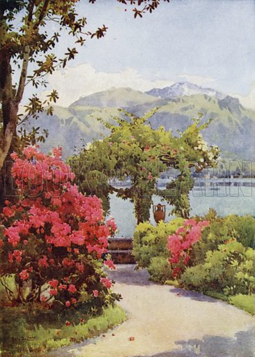 Villa Carlotta, Lago di Como. Illustration for The Italian Lake Described by Richard Bagot (A&C Black, 1905).