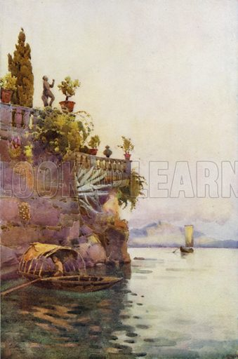 In the Shadow of the Terrace. Illustration for The Italian Lake Described by Richard Bagot (A&C Black, 1905).