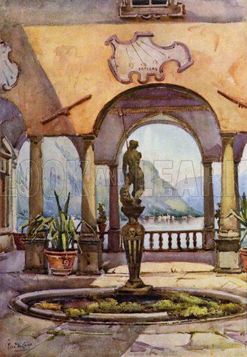The Loggia, Villa Pliniana, Lago di Como. Illustration for The Italian Lake Described by Richard Bagot (A&C Black, 1905).