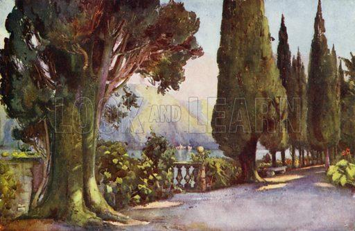 Cypress Avenue, Villa del Pizzo, Lago di Como. Illustration for The Italian Lake Described by Richard Bagot (A&C Black, 1905).