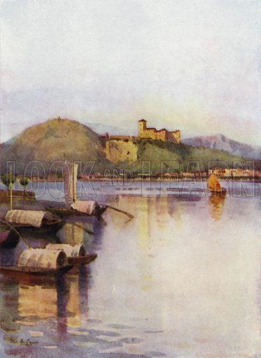 Angera, Lago Maggiore. Illustration for The Italian Lake Described by Richard Bagot (A&C Black, 1905).
